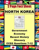 NORTH KOREA Fact Sheet 2 Page History, Issues, Economic Statistics