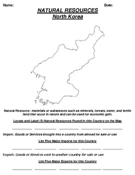 North Korea Natural Resource Worksheet and Word search