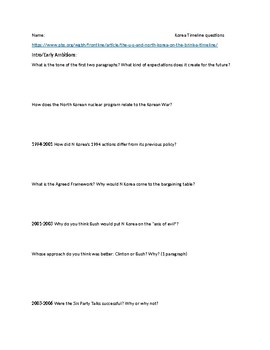 North Korea Nuclear Program reading with questions