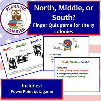 North, Middle, or South? 13 Colonies Finger Quiz Game