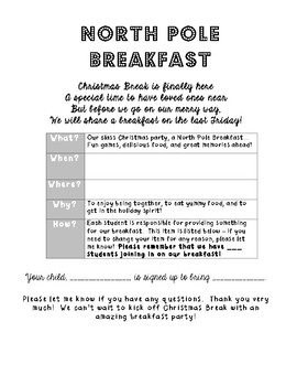 North Pole Breakfast Note Home