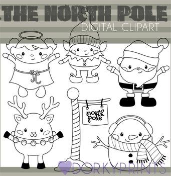 North Pole Christmas Black Line Clip Art