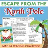 North Pole Christmas ESCAPE ROOM 4th Grade Reading & Math LOW PREP