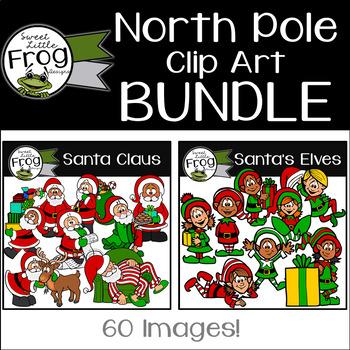 North Pole Clip Art Bundle: Santa and Santa's Elves