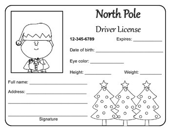 North Pole Driver's Licenses (12 in all)