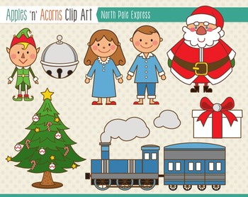 North Pole Express Clip Art - color and outlines