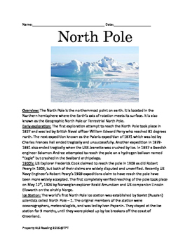 North Pole - Facts History of exploration lesson questions vocabulary PDF