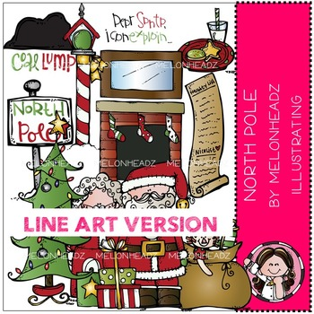 North Pole clip art - LINE ART- by Melonheadz