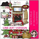 North Pole clip art - LINE ART- Melonheadz clipart