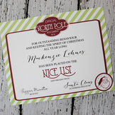 North Pole Printable NICE LIST Certificate :: Designs by T