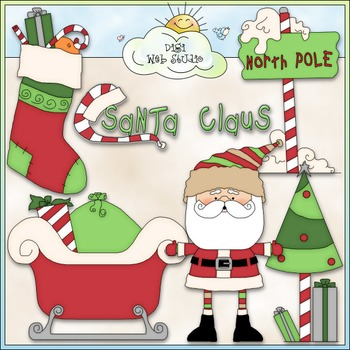 North Pole Santa Claus Clip Art - Christmas Clip Art - CU Clip Art & B&W