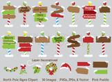 North Pole Signs Clipart Clip Art, Santa's Workshop Clipart Clip Art