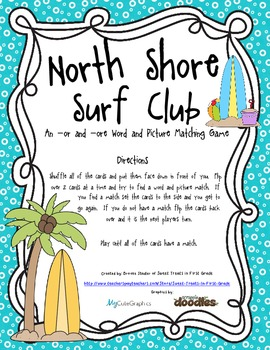 North Shore Surf Club - An -or and -ore Word and Picture M