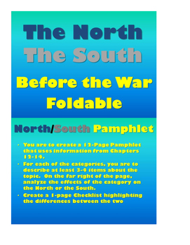 North South Before the War FOLDABLE Pamphlet