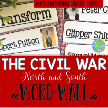 Causes of the Civil War - North and South Word Wall without definitions