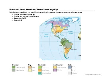 North and South American Climate Zones Map Worksheet