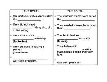 North And South Fill In The Blank T Chart For Civil War  Blank T Chart