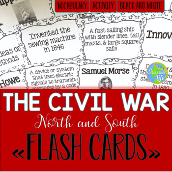 Causes of the Civil War North and South Flash Cards - Black and White