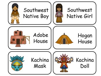 North and South Native American themed Picture Word Flash