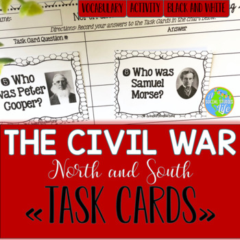 North and South Task Cards - Black and White