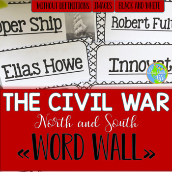 North and South Word Wall without definitions - Black and White