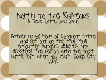 North to the Railheads Cattle Drive Game