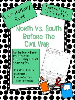 North vs. South Civil War Vocabulary Word Sort