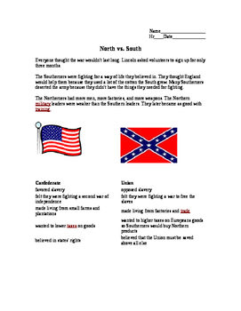 graphic relating to Civil War Printable Activities known as North vs. South Civil War worksheet
