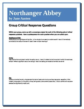 Northanger Abbey - Austen - Group Critical Response Questions