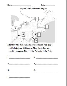 Northeast Map Quiz/Worksheet by Lauren Eisele | Teachers Pay Teachers