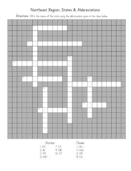 5 Regions: Northeast Crossword (State Abbreviations)