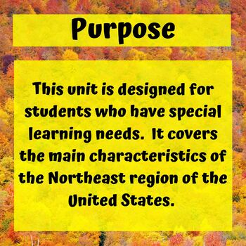 Northeast Region Geography Unit for Special Education