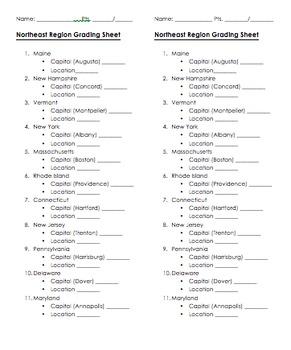 Northeast Region Grading Sheet