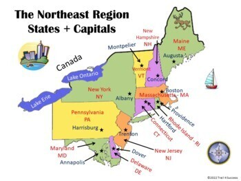 Region Interactive States Capitals PowerPoint Worksheet - Northeastern usa map