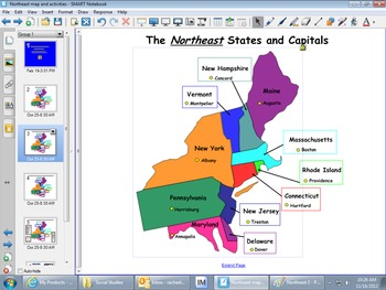 Northeast Region Map and Smartboard Activities