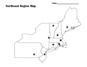 Northeast Region Map with Capitals