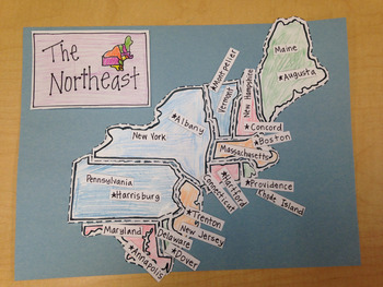 Northeast Region Puzzle-Label States and Capitals
