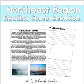 Northeast Region Reading Comprehension Freebie