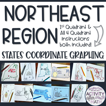 Northeast Region STATES Coordinate Graphing Pictures BUNDLE