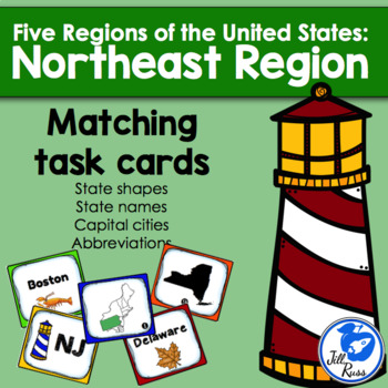 Northeast Region States and Capitals Task Cards
