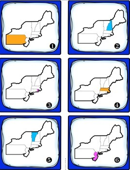 Northeast Region States and Capitals Task Cards {Four Regions of United States}