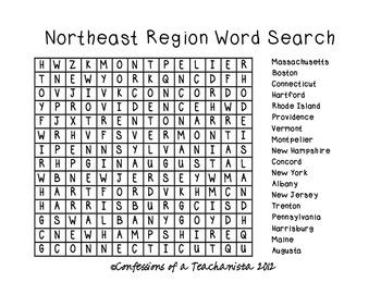 Northeast Region States and Capitals Unit