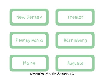 Northeast Region States and Capitals Unit