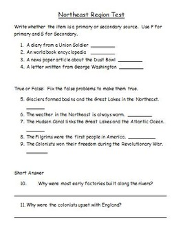 Northeast Region Study Guide and Test