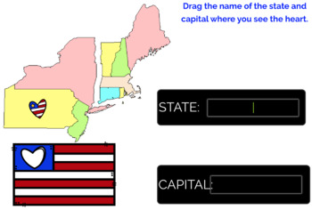 Northeast Region U.S. States and Capitals Boom Cards, Geography, Map Skills
