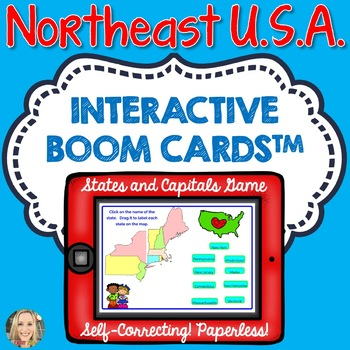 Northeast Region U.S. States and Capitals Boom Cards, Geography ...