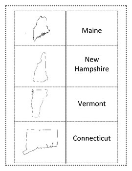 Northeast Region Worksheets and Flashcards. Matching Label Capitals and location