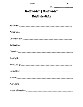 Northeast & Southeast capitals combined quiz