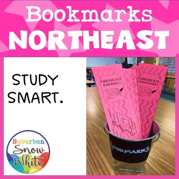 Northeast States Bookmarks with States, Capitals, and Abbreviations