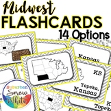 Midwest States and Capitals Flashcards, Differentiated